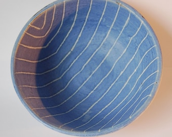 Stoneware bowl. Blue and white striped pottery bowl. Blue cereal bowl. Studio pottery. Artisan made