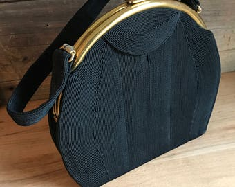 Vintage Antelle Black Rayon Purse