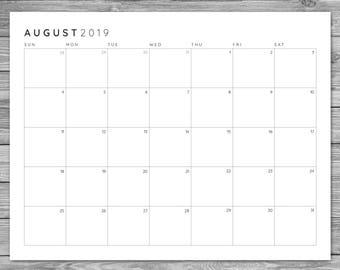 2017 2018 2019 Printable Minimalist Monthly Grid Calendar, Desk Calendar, Wall Calendar, Instant Download, Planner, Template, A4, 8.5 x 11
