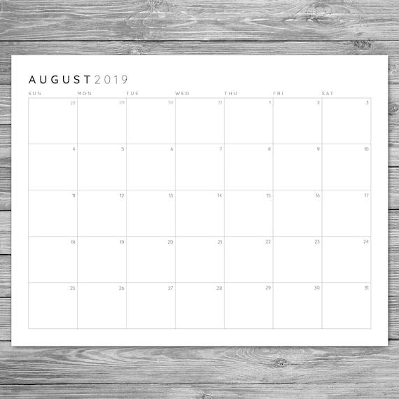 Minimalist Calendar Template : Printable minimalist monthly grid calendar