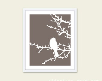 Spring Bird on Tree Digital Print - Taupe Brown and White - Perched Bird Art - Spring Home Decor - Modern Bird on Branches - Bird on Twig