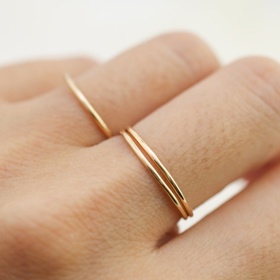 Ultra thin gold wedding band dainty hammered simple skinny