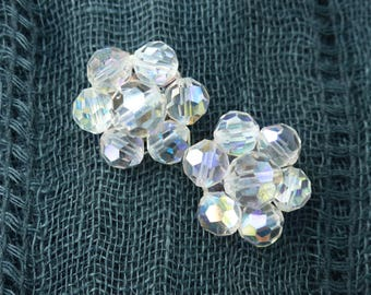 Vintage 1960s - Iridescent Aurora Borealis Facetted Crystal Glass Clip-on Earrings