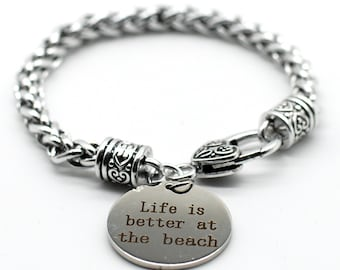 Antique Silver Tone Braid Inspiration Bracelet, Life is Better at The Beach, Handmade in USA, SB18