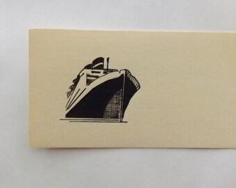 Vintage place card steamship cruise ship ephemera