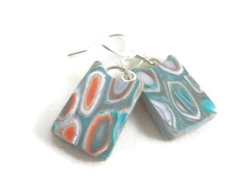 Small lightweight dangle earrings aqua rectangles soft colors