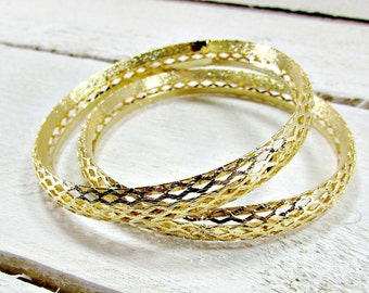 Vintage Gold Bangle Bracelet Set, Stacked Stacking Bangles, Pierced Bangles, Thin Bangles, Boho Bangles, 1970s Modern Boho Bohemian Jewelry
