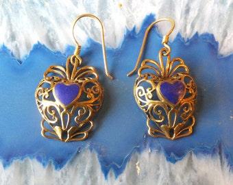 Vintage Brass and Enamel Heart Earrings