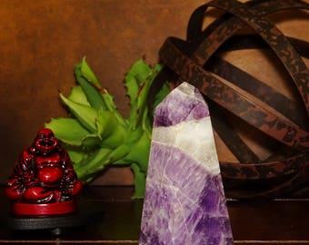 Medium Chrevron Amethyst Point - Boho Decor - Spiritual Gift - Feng Shui - Sacred Space (GC1-208)