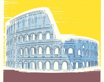 Travel poster, Italy Colosseum Print, City Prints, Architectural Prints, Travel Print, Gifts for Him, London Art, Art Prints, Wall Art Print