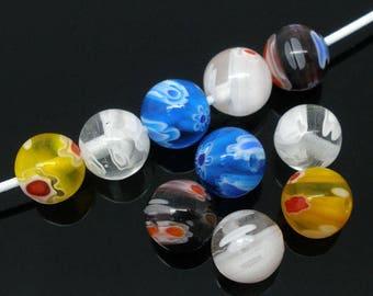 lot 5 beads millefiori glass 8 mm diam.