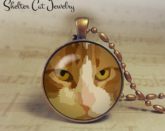 "Cat Art Necklace - 1-1/4"" Circle Pendant or Key Ring - Handmade Wearable Photo Art Jewelry - Gift for Cat Lover"