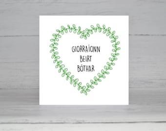 Irish Card, Cárta Gaeilge, Ireland, Gaeilge, Seanfhocail, Proverb, Grá, Irish Love