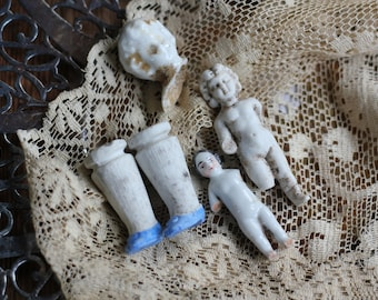 Junk Drawer Lot of Doll Parts Frozen Charlottes c1890 German Salvaged Pieces Painted China Doll