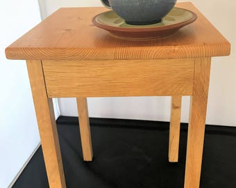 Side table, solid oak legs and pine topped