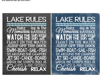 8x10 and 11x14 Lake Rules in Chalk and Blue Wall Art digital- you print your own- INSTANT DOWNLOAD