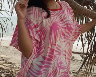 Dusty Pink Bali Batik Top Tunic Kaftan Caftan Poncho Dress Blouse Loungewear Summer Beach Cover Up Party Pregnant Regular Size 1X 2X 3X