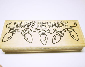 Happy Holidays Word Quote Christmas Stamps Rubber Stamp Supplies Card Making Scrapbooking Unused Christmas Stamp Word Quote CHRISTMAS STAMPS