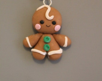 Gingerbread Man Charm,Clay Christmas Charm,Polymer Clay charm, Pendant,Cookie,Minature Food,Holiday Charm,Polymer clay figure,Kawaii charm