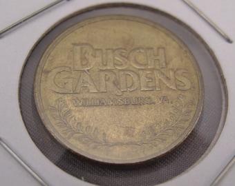 """Vintage BUSCH GARDENS (Virginia) Arcade Token - Circa 1980s - Brass 1"""" Diameter"""