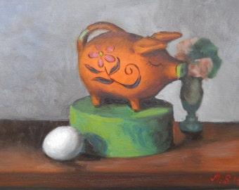 Still Life with Orange Piggy Bank