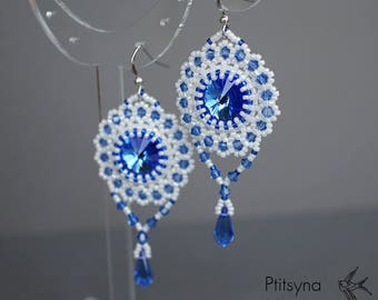 Swarovski crystal earrings, blue and white beaded earrings, long beadwork earrings, statement dangle earrings, beadwoven drop earrings