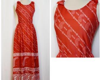 Carole King Red Paisley Maxi Dress