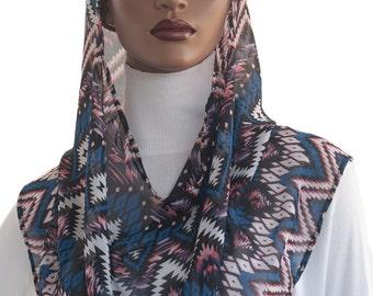 Koul SHôl Head Hoodie™ Head Hoodie Cowl Head Hoodie Veil Soft Chiffon Chevron Print New Style Hoodie Veil Hijab Accessory Handmade