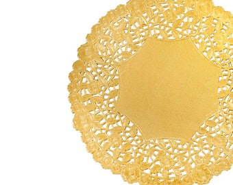 "12"" Gold Foil Doilies. Charger Placemat doilies. Gold Metallic Foil Paper Doilies. Round gold paper doilies, Wedding table decor, Catering"