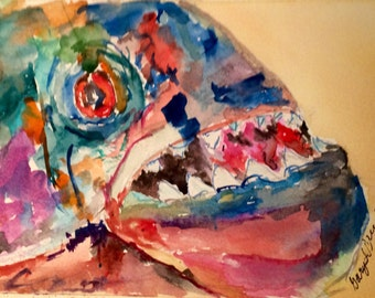 Piranha - piranha portrait - piranha watercolor - small artworks