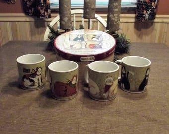 Sakura, Fiddlestix *-* CHRISTMAS CATS *-* Stoneware Mugs, 4 Piece Set, NEW in box