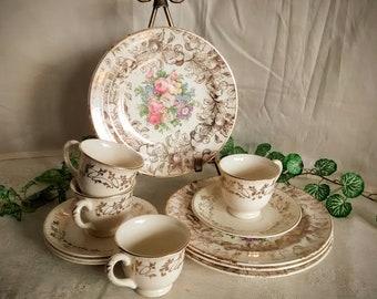Mismatched Tea Set / White and Gold Tea Set / Pink Rose Tea Set/ Tea Party / Bridal Shower / 4 Cups, Saucers, and Plates