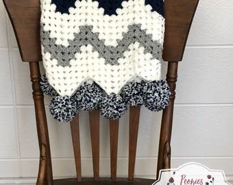 Chevron Baby Blanket // Crocheted Blanket // Customizable Blanket // Stroller Blanket // Stroller Cover