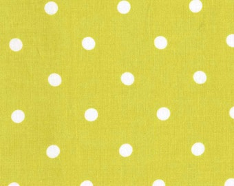 Quilting cotton fabric by the yard, polka dot fabric yardage in lime green, 100% premium cotton by Paula Prass for Michael Miller Fabrics