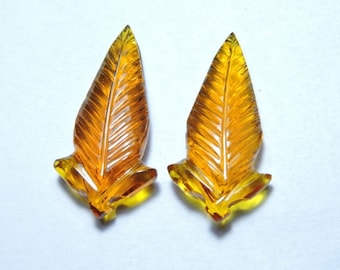 2 Pieces Outrageous Honey Quartz Hand Carved Leaves Loose Gemstone Size 30X15 MM
