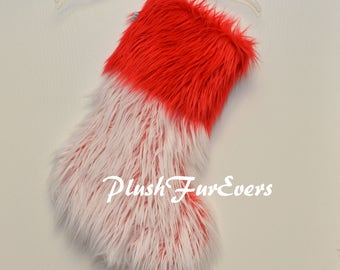 Red White PlushFurEver Faux Fur Christmas Stocking Fur Stocking Lodge Cabin Holiday Home Decor Living Ornaments Accents Personalize