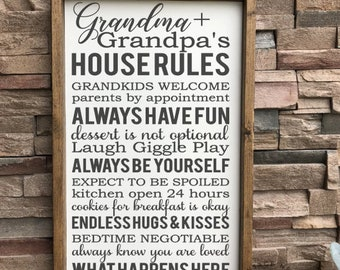 Grandma And Grandpa's House Rules Sign - Grandparents House Rules - Gifts for Grandparents - Farmhouse Decor - Mothers Day Gifts