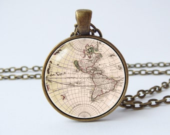 Old world necklace etsy world map necklace globe jewelry map pendant vintage map old map necklace geography gift continent necklace gumiabroncs Gallery