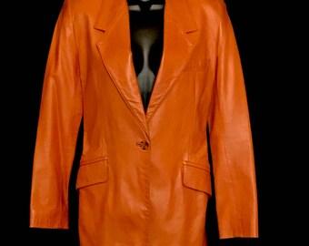 80's Vintage  Burnt Sienna Soft Leather Jacket            LV0012