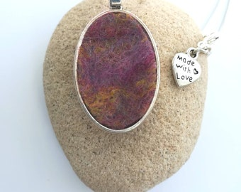 Handmade Oval Felt Pendant Necklace