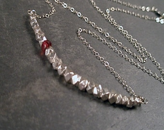 Mia Necklace - Garnet and Sterling Silver