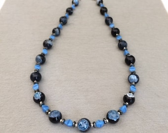 Black Blue Agate Necklace Agate Bead Necklace Blue Necklace Beaded Gemstone Necklace Agate Jewelry Blue Bead Strand Necklace Gift For Mom