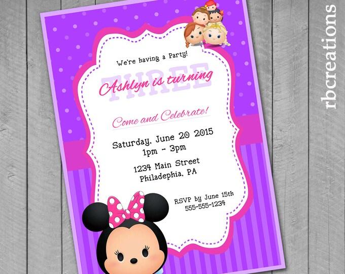 Minnie Mouse Tsum Tsum Party Invitations, Tsum Tsum Birthday, Tsum Tsum Party, Pink and Purple Polka Dots - Digital Printable