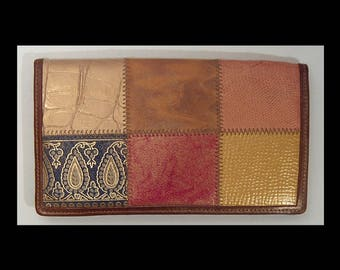 Vintage Braccialini patchwork leather wallet ~ Made in Italy ~  bronze gold paisley rust black metallic  colorful faux crocodile reptile