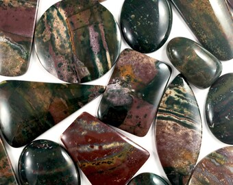 Bloodstone Cabochon Lots // Bloodstone Cabochon // Gems // Cabochons // Jewelry Making Supplies / Village Silversmith