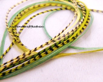Hair feathers extensions Lime Green and Yellow Grizzly  15 feathers