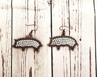 Rhinestone pig earrings