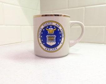 Vintage US Air Force England Coffee Mug United States Air Force England Mug Military Mug Souvenir Mug