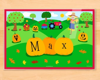 Olive Kids Personalized Fall Placemat, Kids Placemat, Pumpkin Placemat, Holiday Placemat, Laminated Placemat