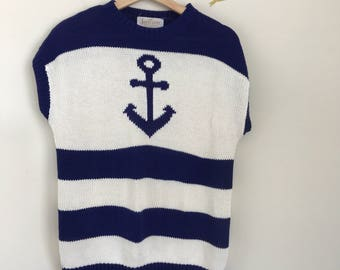 Jantzen Sailor Sweater, Vintage 80's Anchor Sweater, Vintage Nautical Sweater